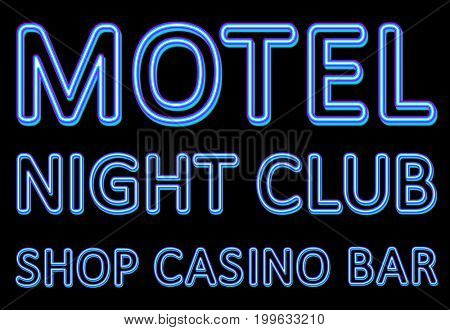 Neon sign of a night entertaining institution on a black background