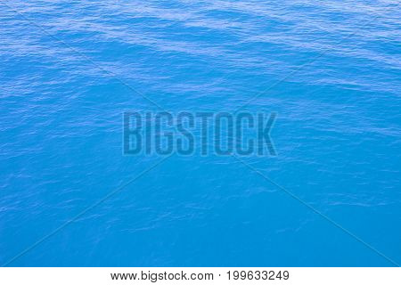 Blue sea waves surface soft and clear sky background
