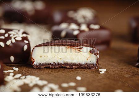 Cut Handmade Chocolate Candies With Sesame Seeds