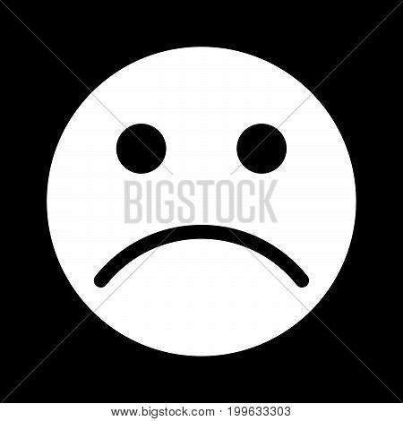 Sad Emoticon White Color Icon .