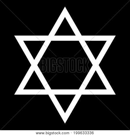 Jewish Star Of David White Color Icon .