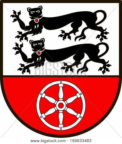 Coat of arms of Hohenlohekreis is a district in the north of Baden-Wurttemberg Germany. Vector illustration from the