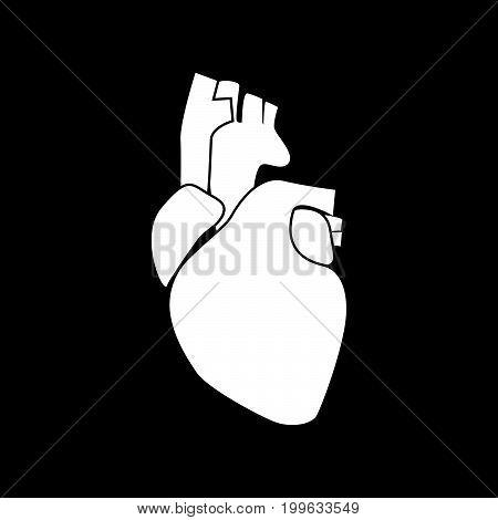 Human Heart White Color Icon .