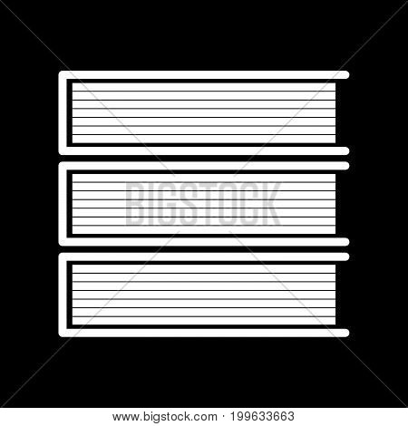 Horizontal Stack Of Books White Color Icon .