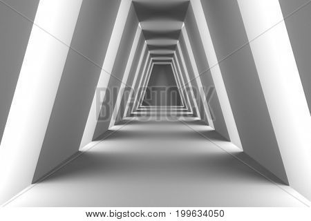 Modern corridor with side lights. 3D rendering.