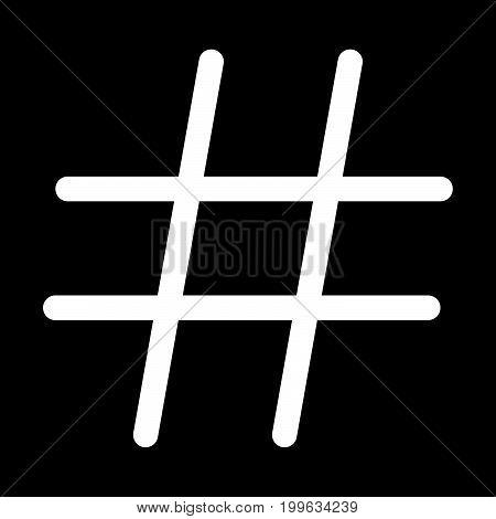 Hashtag White Color Icon .