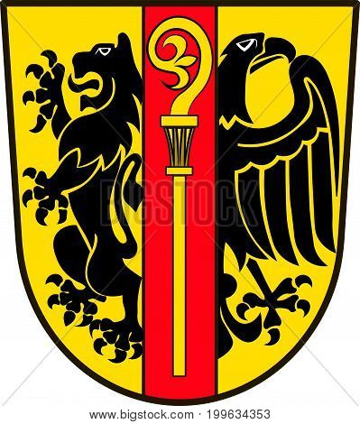 Coat of arms of Ostalbkreis is a district in the east of Baden-Wurttemberg Germany. Vector illustration from the