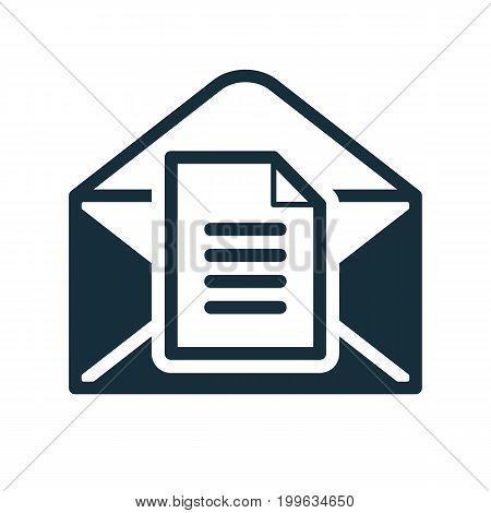 Envelope Icon Flat Black Open Document