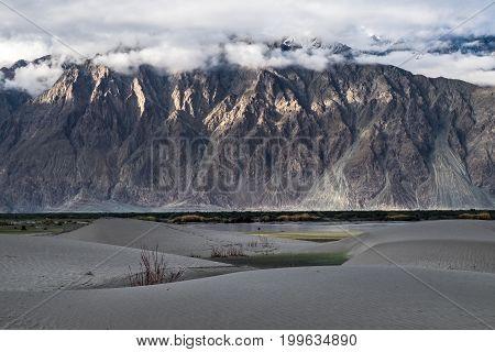 Landscape around Hunder Sand dunes in Nubra Valley, Ladakh, India