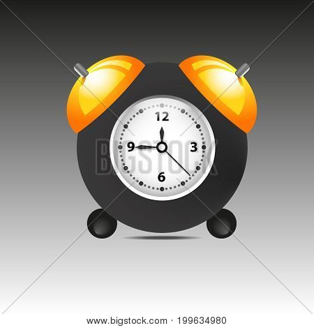 Black alarm clock isolated on white background. Vector illustration