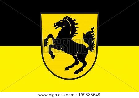 Flag of Stuttgart is the capital and largest city of the state of Baden-Wuerttemberg in southwest Germany. Vector illustration