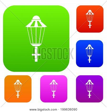 Street lamp set icon in different colors isolated vector illustration. Premium collection