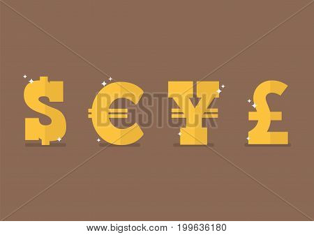 Set of currency icon. Dollar Euro yen pound sterling