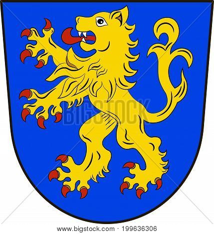 Coat of arms of Ravensburg is a district in the southeast of Baden-Wurttemberg Germany. Vector illustration from the