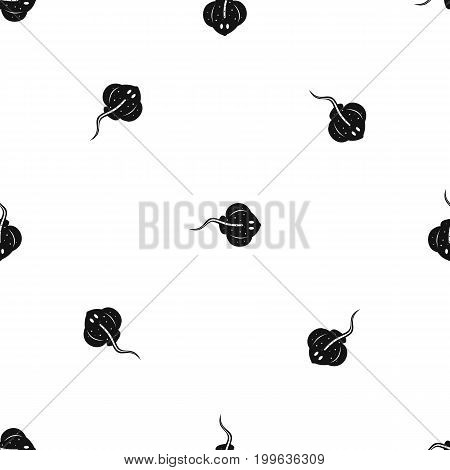 Stingray fish pattern repeat seamless in black color for any design. Vector geometric illustration