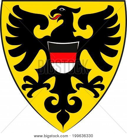 Coat of arms of Reutlingen is a city in Baden-Wurttemberg Germany. Vector illustration from the
