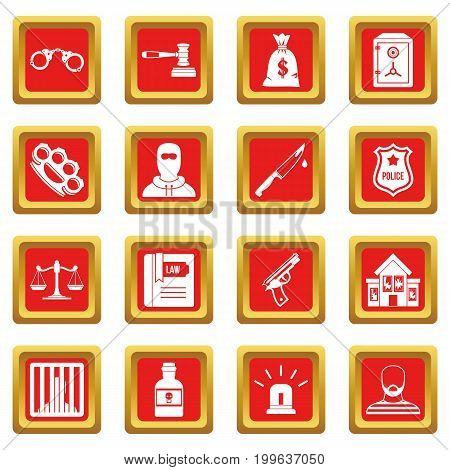 Crime and punishment icons set in red color isolated vector illustration for web and any design