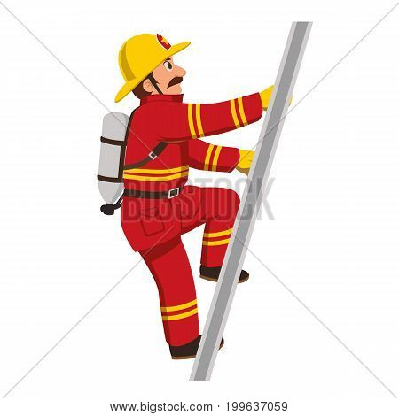 The fireman on red costume climbing the stairs.
