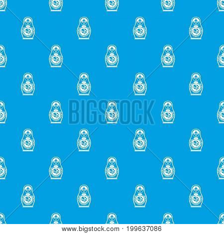Matryoshka pattern repeat seamless in blue color for any design. Vector geometric illustration