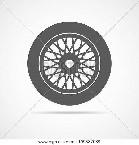 Car wheel icon isolated on light background. Gray wheel sign in flat design.Vector illustration.