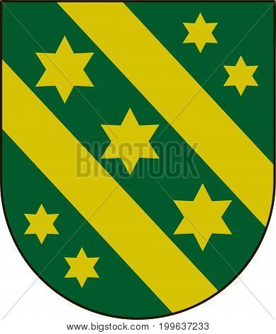 Coat of arms of Reutlingen is a district in the middle of Baden-Wurttemberg Germany. Vector illustration from the