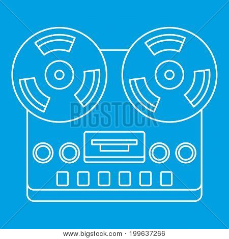 Analog stereo open reel tape deck recorder icon blue outline style isolated vector illustration. Thin line sign