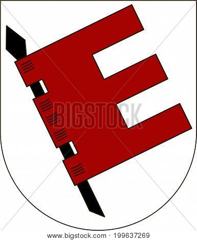 Coat of arms of Tubingen is a district in the middle of Baden-Wurttemberg Germany. Vector illustration from the