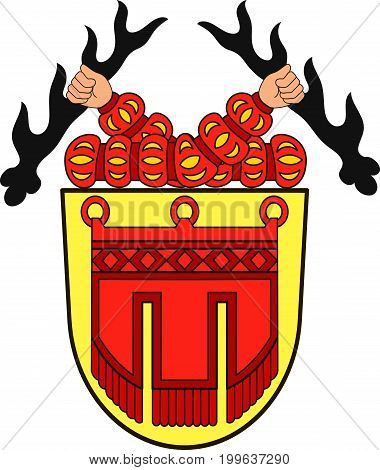 Coat of arms of Tubingen is a traditional university town in central Baden-Wurttemberg Germany. Vector illustration from the