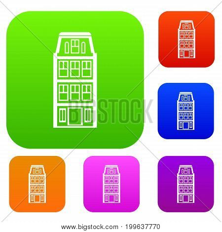 Dutch houses set icon in different colors isolated vector illustration. Premium collection
