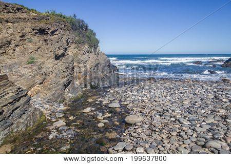 Stones in Angra beach in Almograve Alentejo Portugal