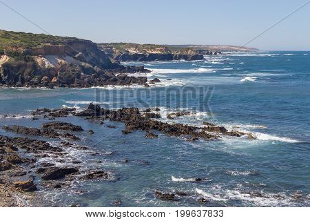 Waves Angra beach in Almograve Alentejo Portugal