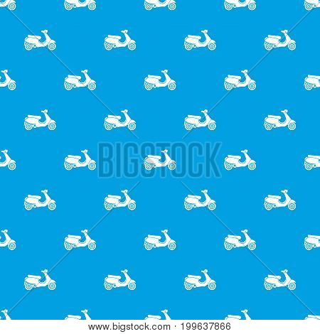 Vespa scooter pattern repeat seamless in blue color for any design. Vector geometric illustration