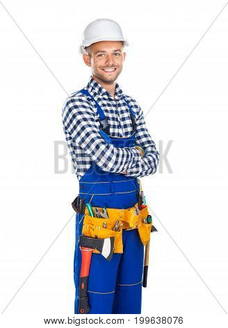 Happy Smiling Construction Worker In Uniform And Tool Belt With Crossed Arms