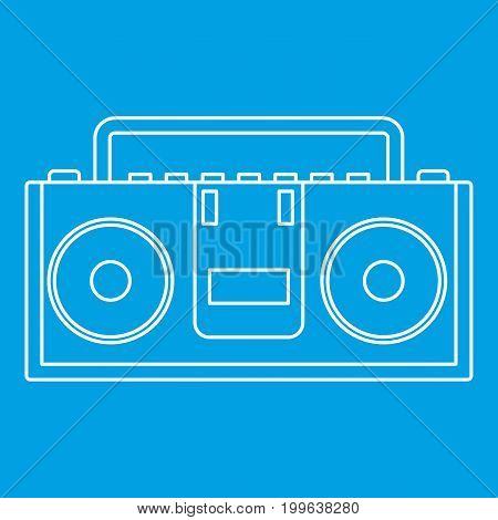 Music boombox icon blue outline style isolated vector illustration. Thin line sign