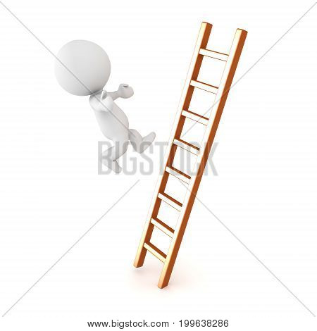 3D Character falling off of ladder. Isolated on white.