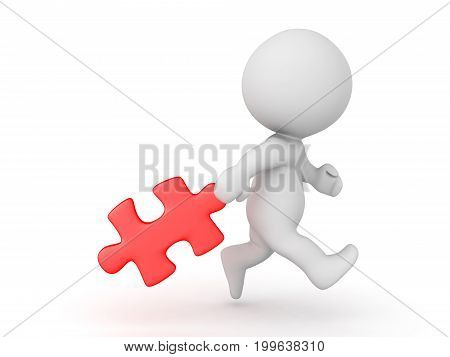 3D Character dragging behind a red puzzle piece. Isolated on white.
