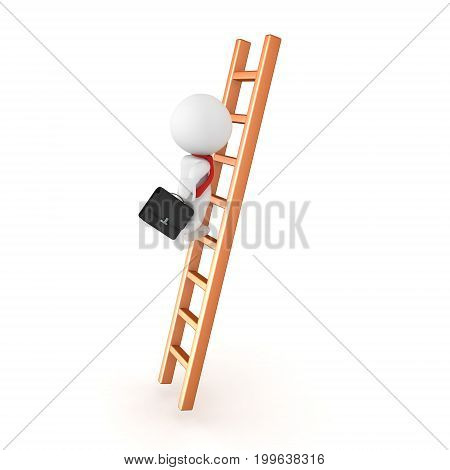 3D Character climbing the corporate ladder. Isolated on whie.