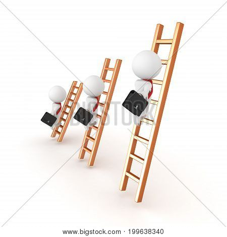 3D illustration depicting people on different levels of the corporate ladder. Isolated on white.