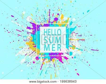 Paint stains. Grunge background. Ink splatter poster design. Spray drops. Blots and splashes. Liquid stains banner or cover. Hello summer. Abstract vector template.