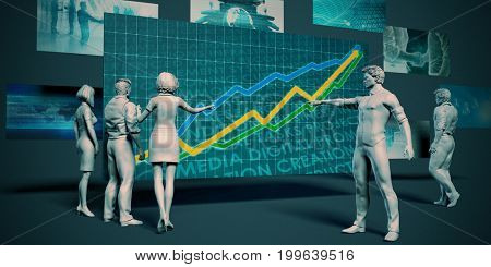 Company Performance Meeting with Presentation Chart Graph 3D Illustration Render