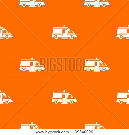 Ambulance pattern repeat seamless in orange color for any design. Vector geometric illustration