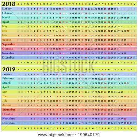 A calendar template for a new year.