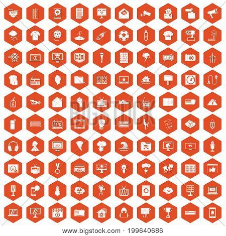 100 TV icons set in orange hexagon isolated vector illustration