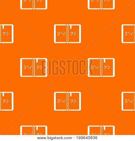 Braille pattern repeat seamless in orange color for any design. Vector geometric illustration