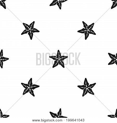 Starfishpattern repeat seamless in black color for any design. Vector geometric illustration