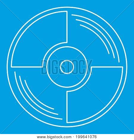 Blank vinyl record icon blue outline style isolated vector illustration. Thin line sign