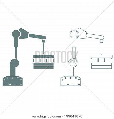Robotic Hand Manipulator Grey Set Icon .