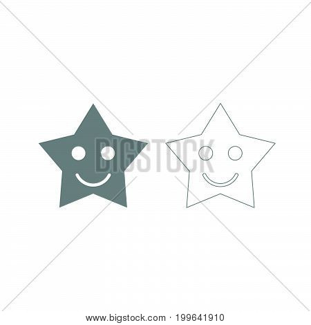 Smiling Star Grey Set Icon .