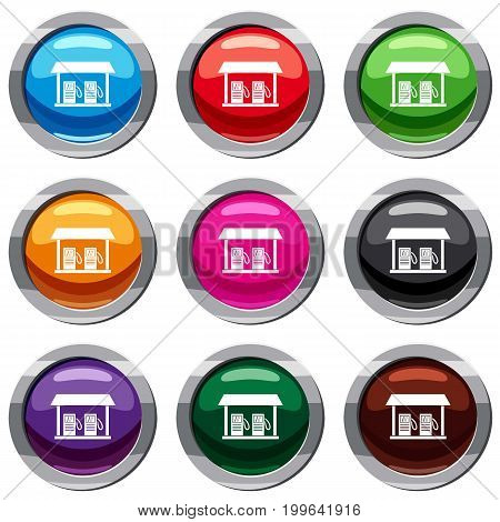 Gas station set icon isolated on white. 9 icon collection vector illustration
