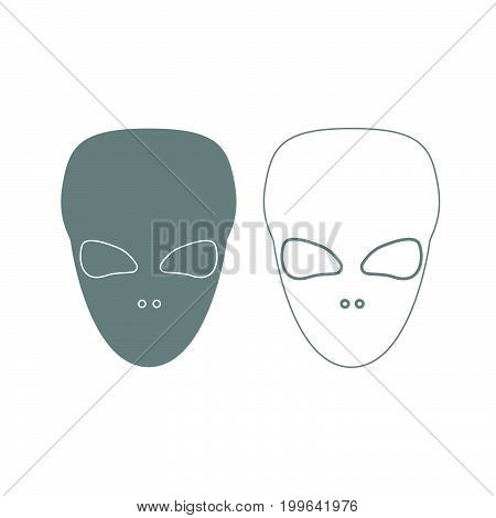 Extraterrestrial Alien Face Or Head Grey Set Icon .
